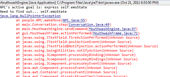 Error code from Java debugging, in which an NPC fails to find her own emotional state.
