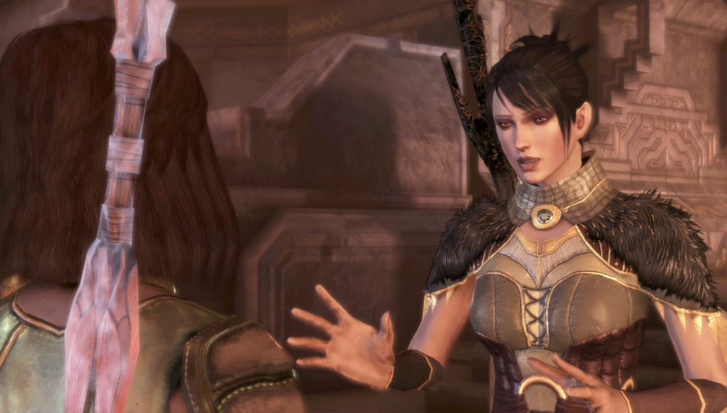 A conversation scene. Morrigan is gesticulating at Rulan, a dark-haired female elf in Dalish armor.