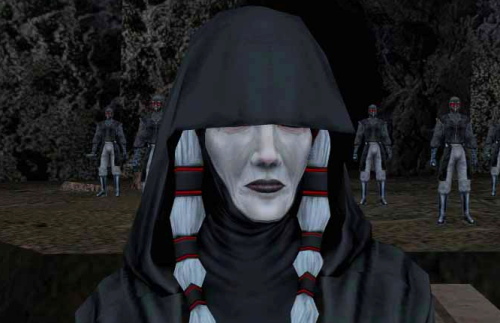Kreia from Knights of the Old Republic 2. An older white-skinned woman with thick white braids, wearing black robes and a hood that covers her eyes.