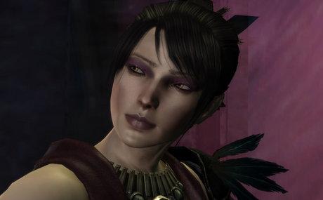 "Morrigan standing before a dark violet portal at the end of ""Witch Hunt,"" looking back over her shoulder."