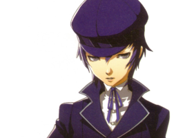 Naoto from Persona 4. Indigo hair, pale skin, and a sharp navy coat and hat.