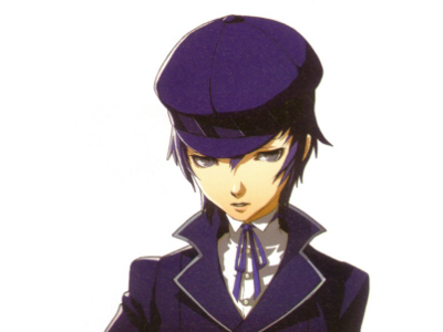 A slender young man with indigo hair, pale skin, and an uncomfortable expression, wearing a sharp navy coat and hat.