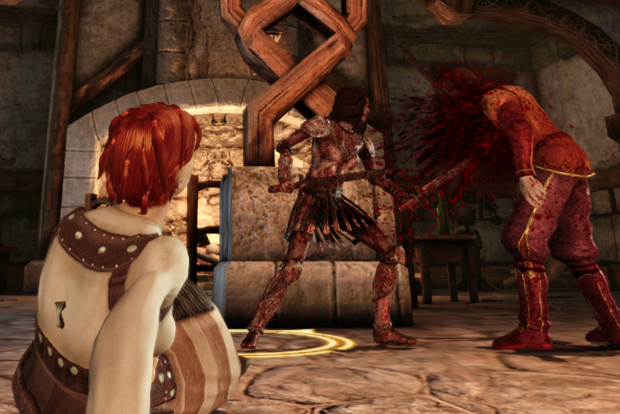 A scene from the City Elf origin. Shianni, a red haired female elf, is sitting injured in the foreground, watching as Rulan gorily dispatches a male human noble.