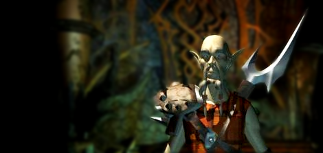 Dak'kon from Planescape: Torment. A bald man with a moustache in a plaid tunic and spiky fantasy armor, with a remarkably large sword.