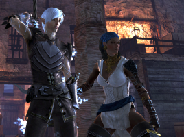 Fenris and Isabella from Dragon Age 2, in fighting poses.