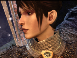 Morrigan from Dragon Age: Origins, a dark-haired, light-skinned woman seen in profile wearing a staff and mage's robes.