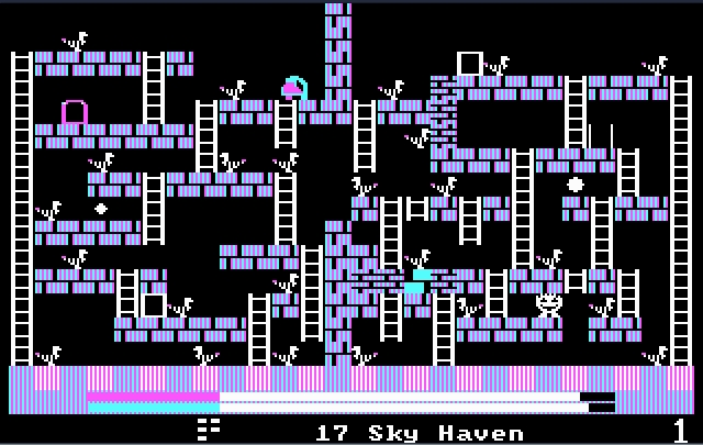 A screenshot from Freddy's Rescue Roundup, a very old-school platformer with lots of bricks, ladders, and ducks.