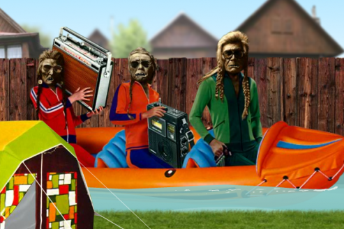 Screenshot from Osada in a photo-collage style. Three Native American men in an inflatable canoe, wearing aviator sunglasses and track suits, singing.