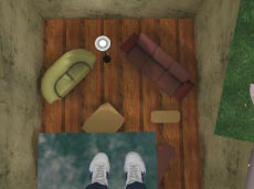 A scene from a virtual reality system. You're standing on a plank jutting out over a sparsely furnished room about ten feet below you.