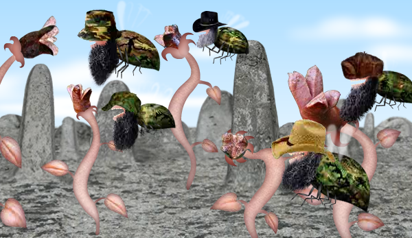 A screenshot from Osada. A number of camouflage bees with beards and hats are hungrily descending on plants made out of sausage in a desert landscape.