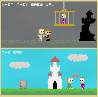 A screenshot from Storyteller, showing two panels of a fairy-tale-like comics story in 8-bit style.