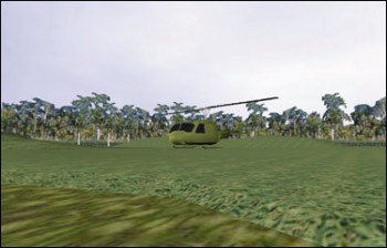 A virtual reality scene with dated 3D graphics. A blocky helicopter lands in a vaguely jungle-like environment.