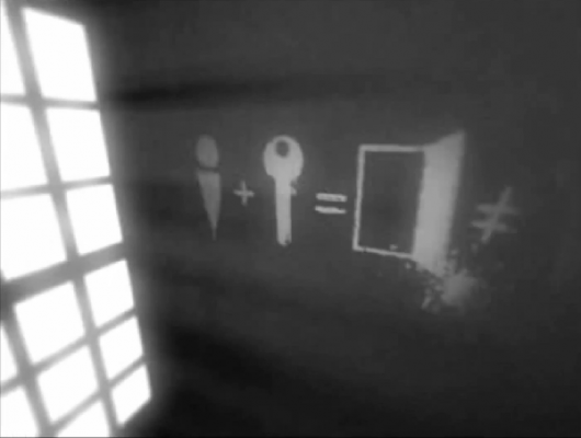 Screenshot from Which showing glyphs drawn on the wall