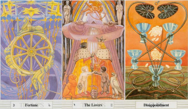 Three Tarot cards: The Wheel of Fortune, The Lovers, and the Five of Cups