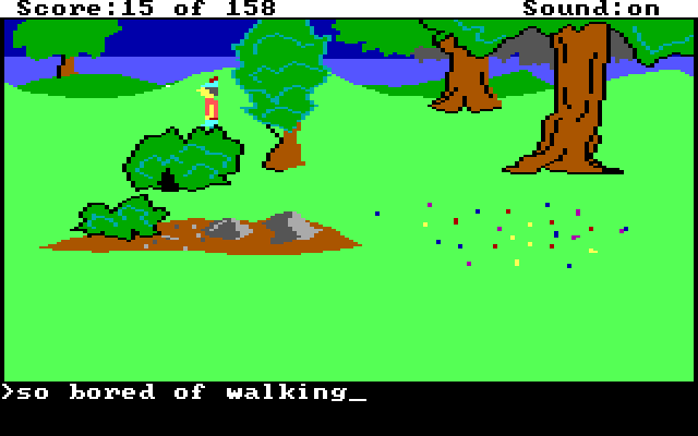"A generic forest screen. Text reads ""so bored of walking"""