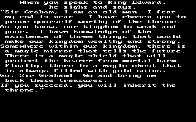 A large block of hard-to-read text explaining the quest.