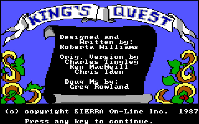 King's Quest 1: Title screen and credits.