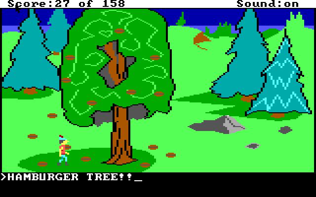 """A tree with very blocky nuts in it. Text reads """"HAMBURGER TREE!"""""""
