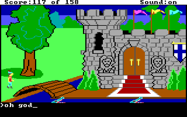 "Graham stands by the bridge over the castle moat. Input text: ""oh god"""