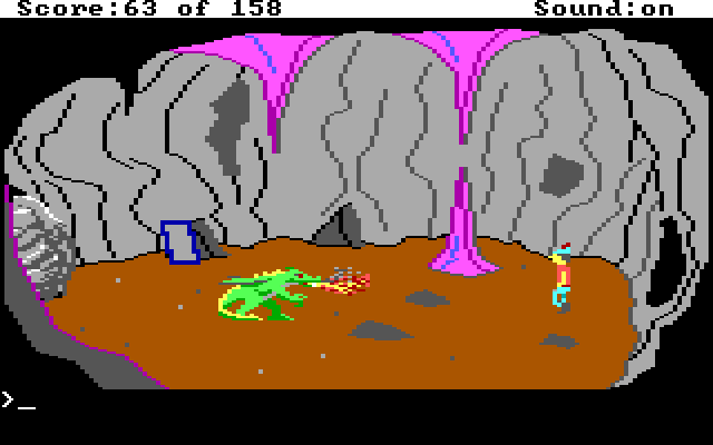 Graham in a cave facing a tiny dragon.