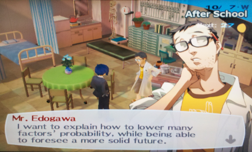 A screenshot from Persona 3. Dialogue text reads: Keep in mind the meaning of each card and the direction it faces, and use your inspiration to create a story.