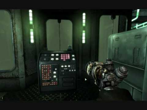 Fallout 3: a first-person shooter view of some futuristic machinery.