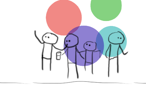 Stick figures at a party.