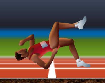 From QWOP: a runner falling over backwards
