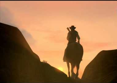 Red Dead Redemption: a cowboy rides off into the sunset.