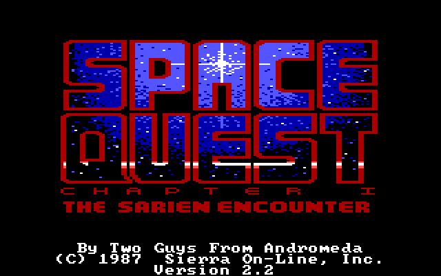 Title screen for Space Quest: The Sarien Encounter