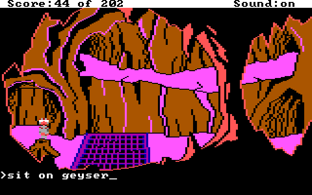 "Pink cave. Roger stands by a geyser. Input text: ""sit on geyser"""