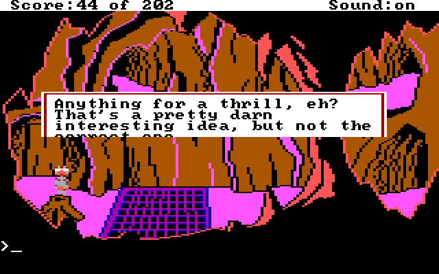 "Same. Game text: ""Anything for a thrill, eh? That's a pretty darn interesting idea, but not the..."" Text is cut off"