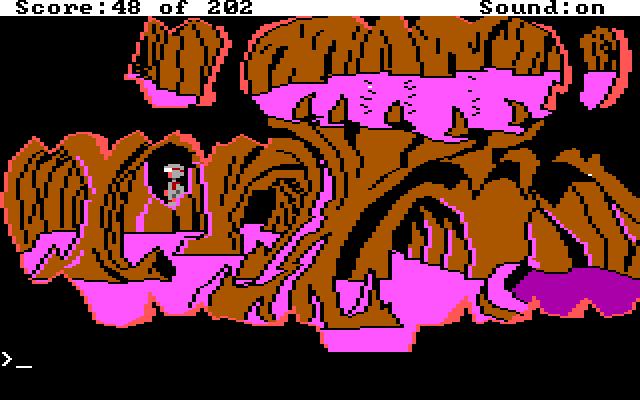 A scene of the pink cave with lots of graphics layers.