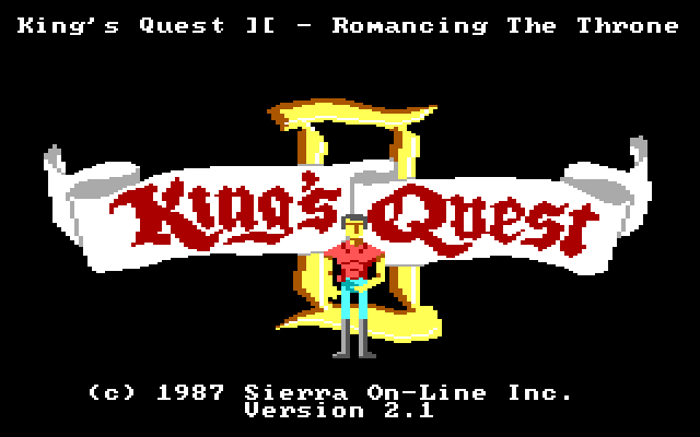 The King's Quest title screen, with a buff King Graham in front of a title banner.
