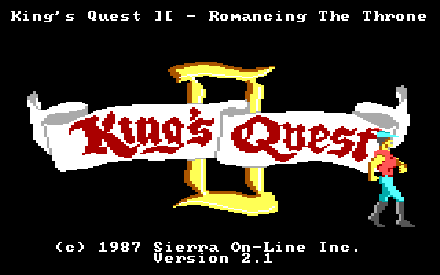 Same title screen. King Graham marches off screen, flashing biceps.