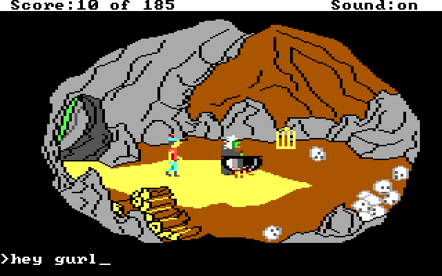 "Graham in a cave. A witch stirs a cauldron. Input text: ""hey gurl"""