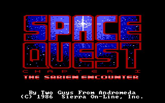"A title screen reads: ""SPACE QUEST: THE SARIEN ENCOUNTER"""