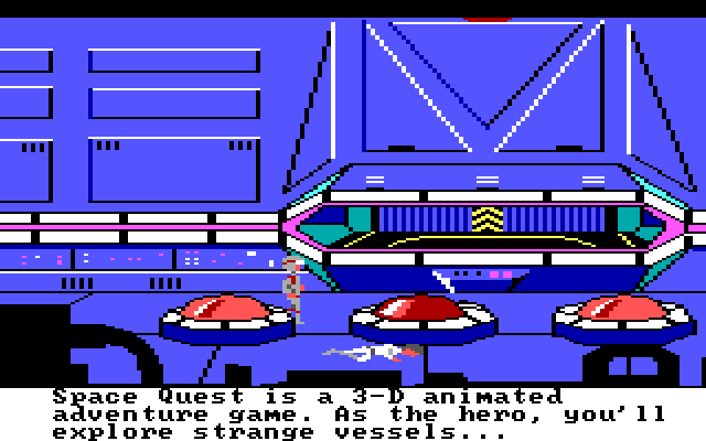 "A scene from Space Quest. Text reads: ""Space Quest is a 3-D animated adventure game. As the hero, you'll explore strange vessels..."""
