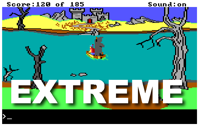 "Graham rides a boat across a lake, piloted by a Grim Reaper figure. Text reads ""EXTREME"""