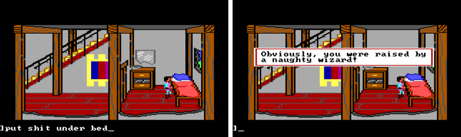"Two panel view of Gwydion in his small, bare bedroom, standing next to a spare-looking bed. First panel input text: ""put shit under bed"". Second panel game text: ""Obviously, you were raised by a naughty wizard!"""