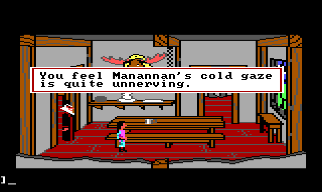 "Gwydion walks through the dining room. Manannan is standing behind him in the doorway. Game text reads: ""You feel Manannan's cold gaze is quite unnerving."""