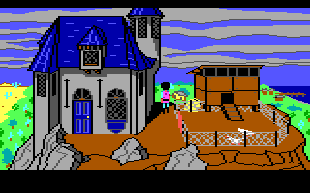 A small, Gothic-looking blue house on top of a rocky mountain. There's a chicken hutch and some chickens next to it. Gwydion, the main character, stands in between them looking over the landscape.