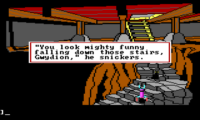 "Gwydion falling down the basement stairs while the cat stands nearby. Game text reads: ""'You look might funny falling down those stairs, Gwydion,' he snickers."""