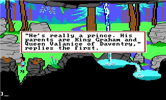 "Gwydion outside by a waterfall. There are two squirrels in the foreground. Game text reads: ""'He's really a prince. His parents are King Graham and Queen Valanice of Daventry,' supplies the first."""