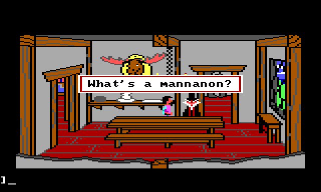 "Gwydion and Manannan in the dining room. Game text: ""What's a mannanon?"""
