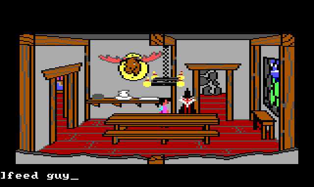 """Gwydion and Manannan in the dining room. Input text: """"feed guy"""""""