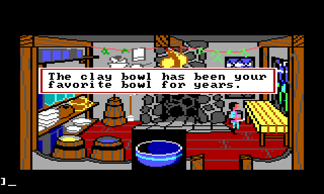 "Gwydion stands in a medieval-looking kitchen with a large stone fireplace. A close-up image of a blue bowl is visible in the foreground. Game text reads: ""The clay bowl has been your favorite bowl for years."""