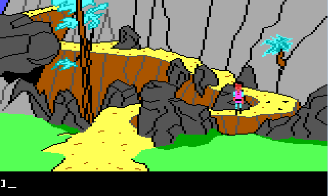 Gwydion stands feet away from the base of the mountain path, facing the viewer.