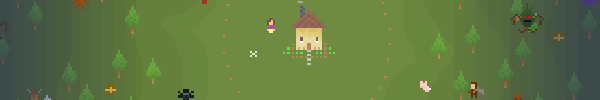 Screenshot from A Mother in Festerwood. Tiny pixel graphs show a woman next to a house surrounded by a forest. In the forest there are monsters, small animals, and treasure chests. A small figure in armor stands at the edge of the forest.