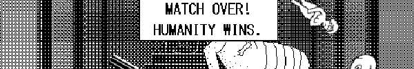 "Screenshot from Terra Tam: The World Warrior. A naked woman is falling from the ceiling over an injured alien. Text reads ""Match over! Humanity wins."" Black and white."